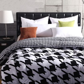 Pure Black Scissor Print Style Pure White Thicken Quilt