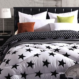 Concise Style Pure Black Five-Pointed Star Print Thicken Quilt