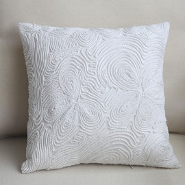 Luxury Hand Made European Style Pure White Throw Pillow