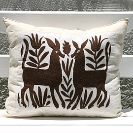 Joyous Two Deer Playing Together Pattern Throw Pillow