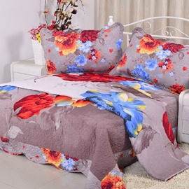 Red and Blue Flowers Painting Super Comfortable Bed in a Bag Set