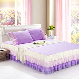 Ultra Soft Fantastic Light Purple Style Bed Skirt and One Pair Pillow Cases