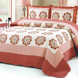 Brick Red Eight-Pointed Petal Pattern Cotton 3-Piece Bed in a Bag Set