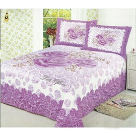 Amazing Roses on Pink and Purple Cotton Printed Sheet