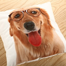 Mr. Golden Dog Printing Polyster Throw Pillow