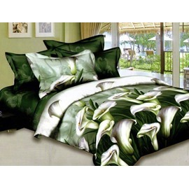 Elegant Green Calla Lily Print 2-Piece Pillow Cases