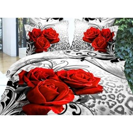 Fancy Three Red Roses Print 2-Piece Pillow Cases