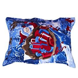 Christmas Gift Red Santa Claus Reactive Print One Pair Cotton Pillowcases