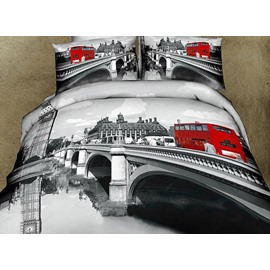 Gray Color Bridge Scenery Red Bus Print Fitted Sheet