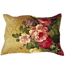 Blooming Flowers with Yellow Ground One Pair Cotton Pillowcases