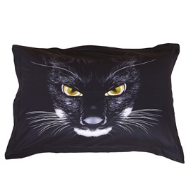 The Black Panther Head Print One Pair Cotton Pillowcases