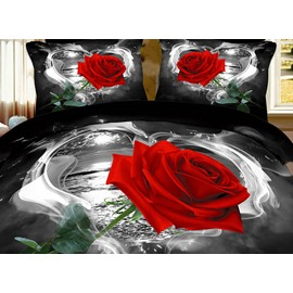 Wild Black and Red Rose Print One Pair Cotton Pillowcase