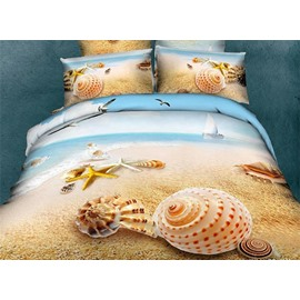Unique Starfish&Shell on Beach Print One Pair Pillowcases