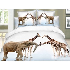 Elephant and Giraffe Two Pieces Pillow Cases