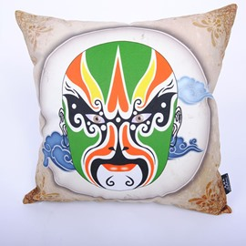 Unique Chinoiserie Beijing Opera Facial Makeup Digital Printing Throw Pillowcase