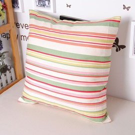 Polychromatic Stripe Concise Design Soft Cotton Throw Pillowcase