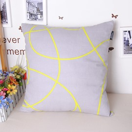 Concise Yellow Linellae Gray Cotton Throw Pillowcase