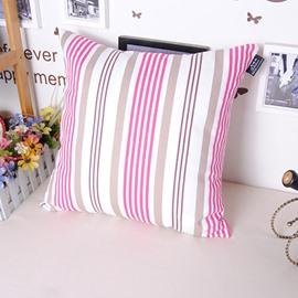Stylish Classy Pink Stripe Printing Throw Pillowcase