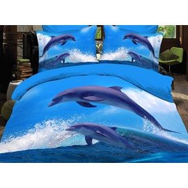 Dynamic Adorable Jumping Dolphin Print Fitted Sheet