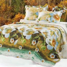 Lifelike Flowers Print Bed in a Bag