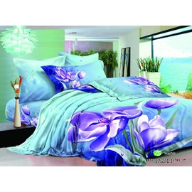 Graceful Purple Flower Print 2-Piece Pillow Cases