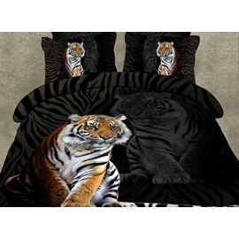 Powerful Tiger Print Black 2-Piece Pillow Cases