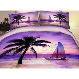 Romantic Purple Beach Scene Print Fitted Sheet