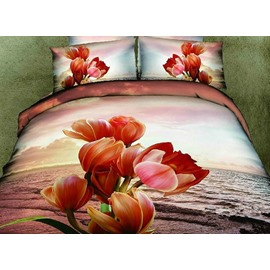 Graceful Comfy Flowers Print 2-Piece Pillow Cases