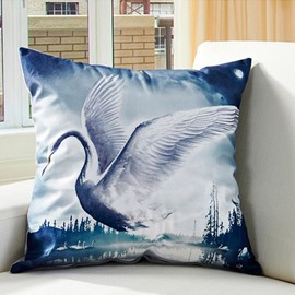 Graceful Flying Swan Digital Printing Throw Pillowcase