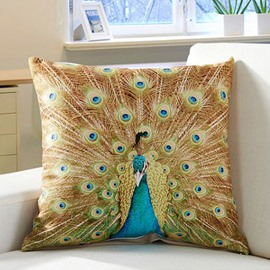 Creative Noble Peacock Printing Throw Pillow Case