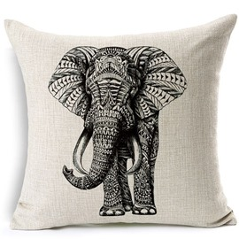 European Concise Style Elephant Print Throw Pillowcase