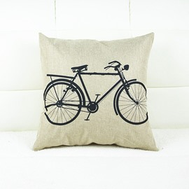 Vintage Bicycle Printing Flax Throw Pillow Case
