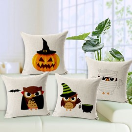 Hallowmas Bat Pumpkin Owl Print Linen Throw Pillow Case