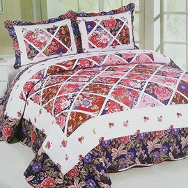 Flowers in Plaid Design 3-Piece Cotton Bed in a Bag