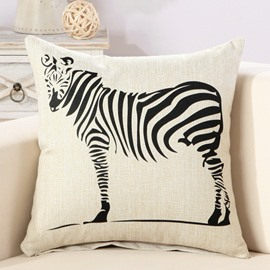 Black Zebra Print Comfy Cotton & Linen Decorative Throw Pillow