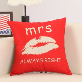 Stylish Lip and Mrs always Right Print Red Throw Pillow