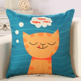 Fancy Cat Dreaming Fish Print Decorative Throw Pillow