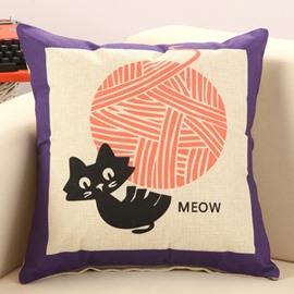 Funny Cat Pulls String Print Decorative Throw Pillow
