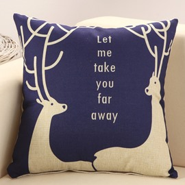 European Style Two Deer Print Blue Throw Pillow
