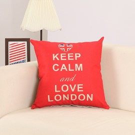 Letter Print Red Cotton Linen Decorative Throw Pillow