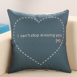 Sweet Heart Print Dark Blue Cotton Linen Throw Pillow