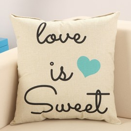 Sweet Love European Style Cotton Linen Decorative Throw Pillow
