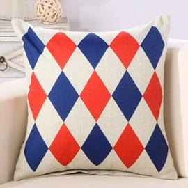 Diamond Check Print Super Fluffy Cotton & Linen Throw Pillow