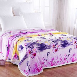 Graceful Purple Flowers Design Soft Polyester Blanket