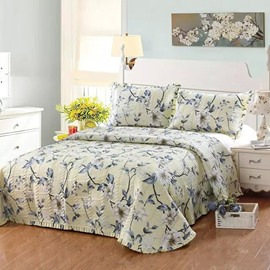 Big White Flowers Print Cotton 3-Piece Yellow Bed in a Bag