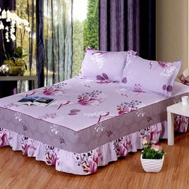 Graceful Flowers Print Cotton Purple Bed Skirt with 2-Piece Pillow Cases