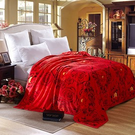 Romantic Red Roses Printing Cozy Flannel Blanket