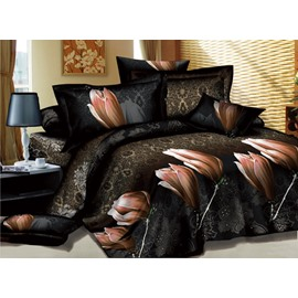 Mysterious Flowers Printed Cotton 2-Piece Pillow Cases