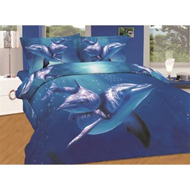 Cute Dolphin Swimming in Sea Print Fitted Sheet