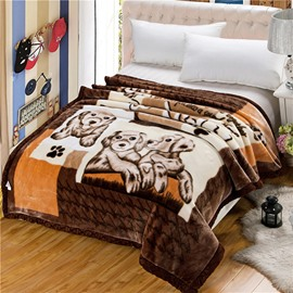 Super Lovely Cartoon Puppy Printing Raschel Blanket